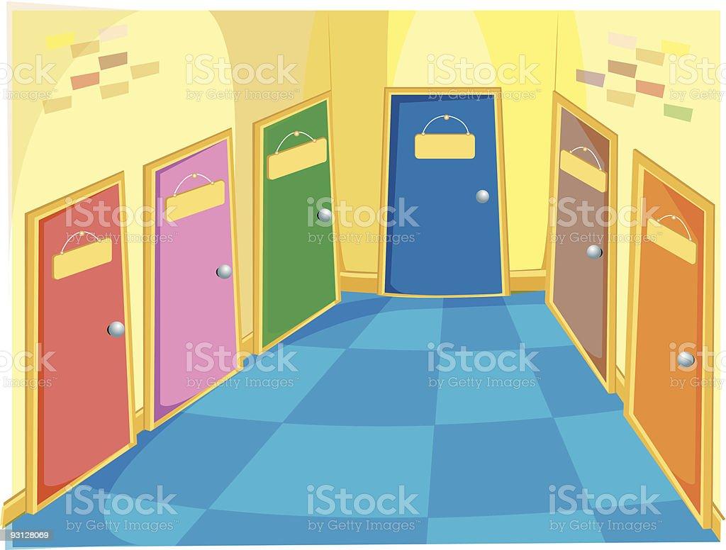 classroom doors vector art illustration