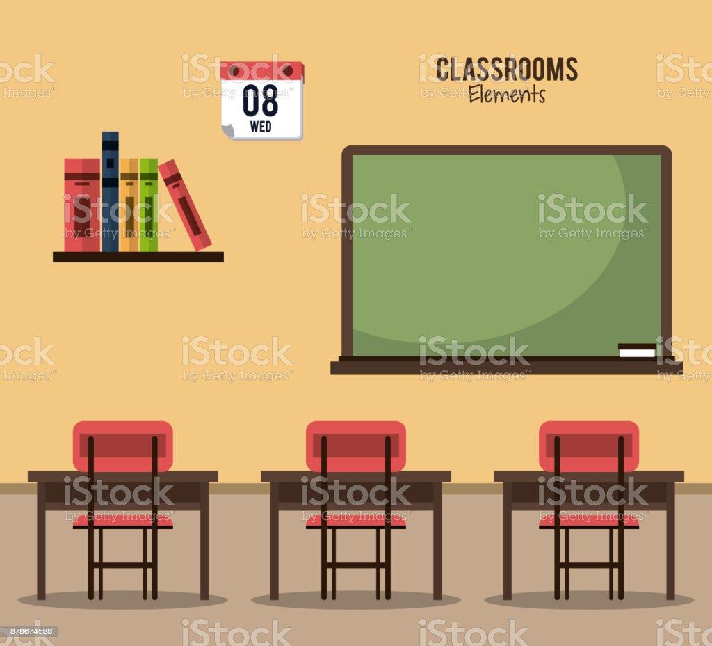Classroom elements design vector art illustration