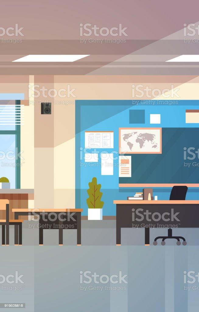 Klassenzimmer Leer Schule Klasse Interieur Mit Kreide Board ...