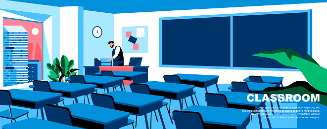 Classroom flat vector landing page template.