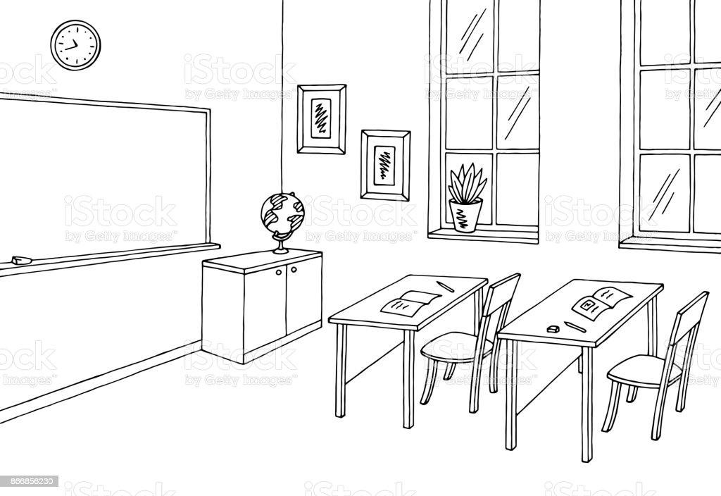 Classroom Decor Black And White ~ Classroom graphic black white interior sketch illustration