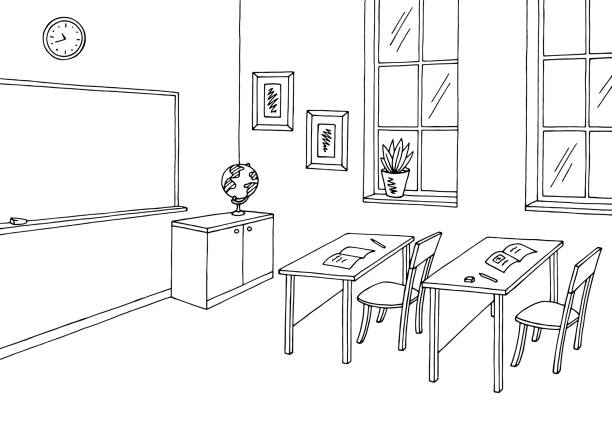 bildbanksillustrationer, clip art samt tecknat material och ikoner med klassrummet grafisk svart vit inredning skiss illustration vektor - klassrum