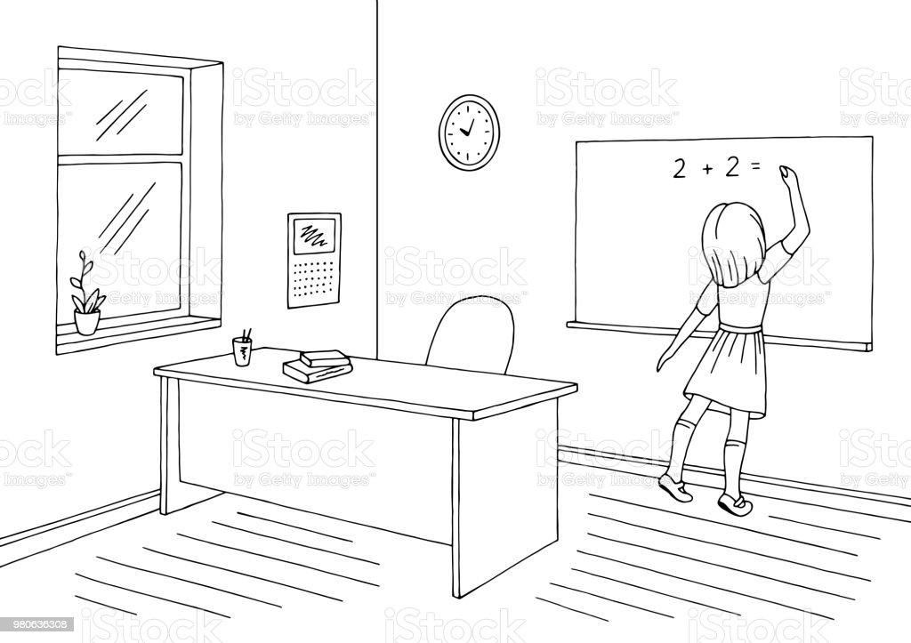 Ilustración de Vector De Ilustración De Aula Blanco Negro Gráfico De ...
