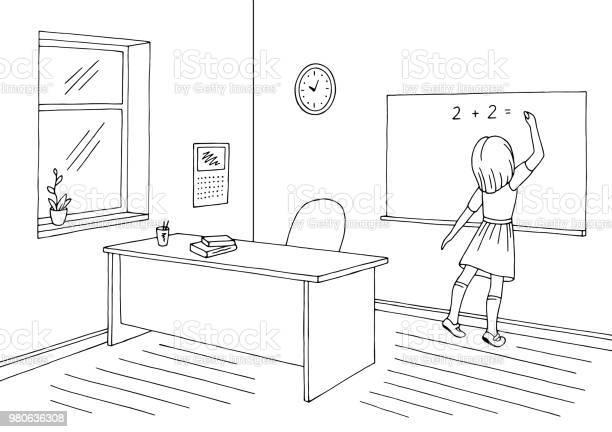 Schwarz Weiß Schule Mädchen