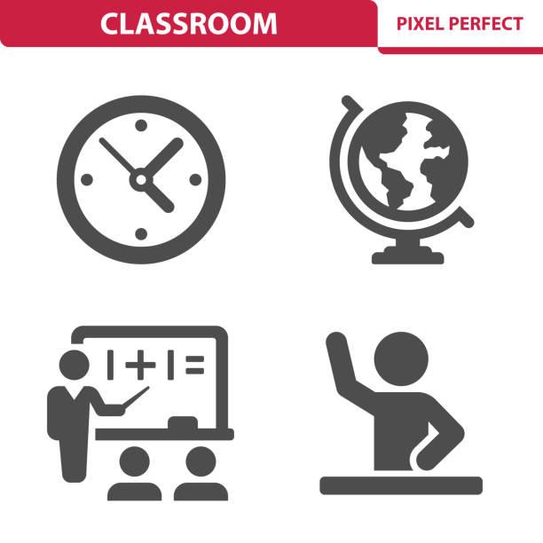 ilustraciones, imágenes clip art, dibujos animados e iconos de stock de iconos de clase - wall clock