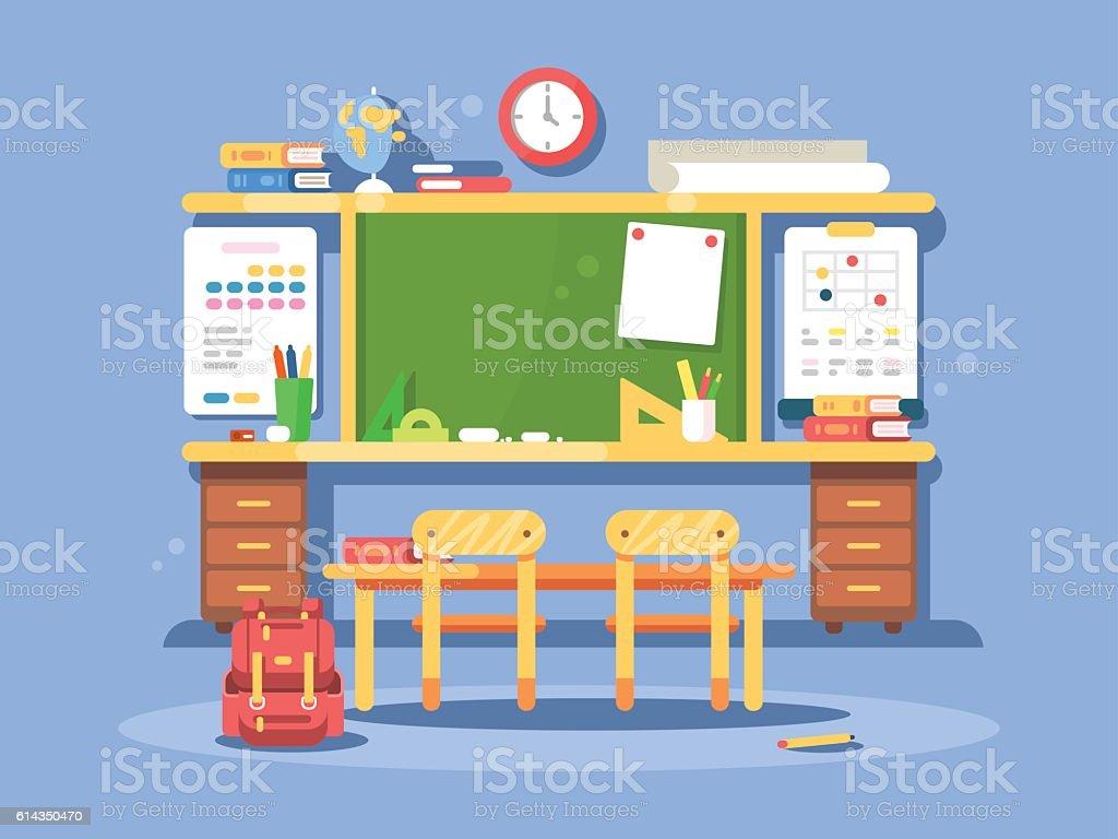 Classroom interior design vector art illustration