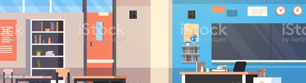 Salle de classe de l'intérieur de la classe vide école avec bureau Prof, informatique et Conseil - Illustration vectorielle