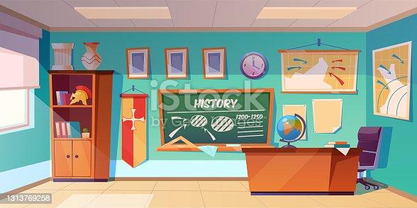 istock Classroom of history empty interior, school class 1313769258