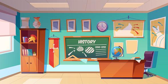 Classroom of history empty interior, school class