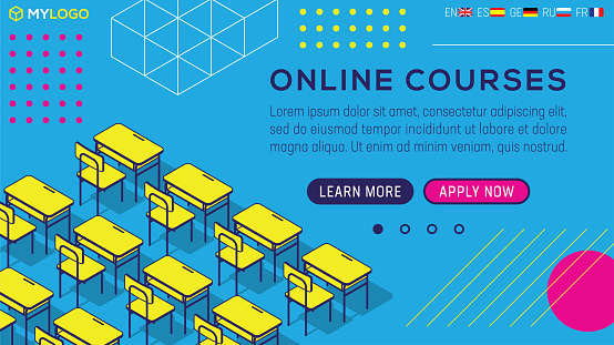 Classroom Online School Student Teaching Classes Learning Education Isometric Background