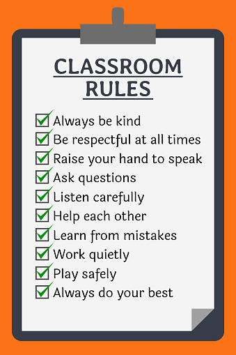 Classroom rules poster. Clipboard over orange