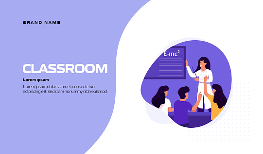 Classroom, School Related Vector Illustration for Landing Page Template, Website Banner, Advertisement and Marketing Material, Online Advertising, Business Presentation etc.