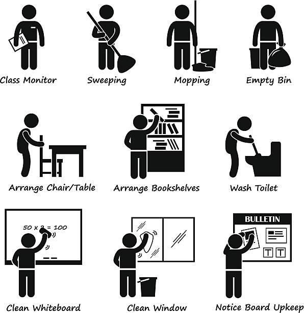 klassenzimmer student duty liste stick figure pictogram icon cliparts - fenster putzen stock-grafiken, -clipart, -cartoons und -symbole