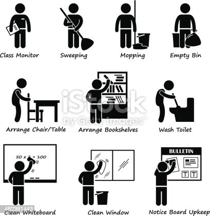 Classroom Student Duty Roster Stick Figure Pictogram Icon