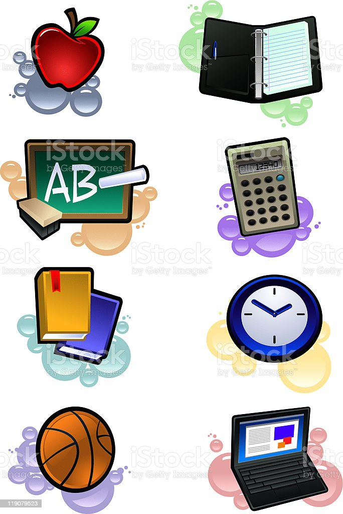 Classroom Supplies with Paint Background royalty-free stock vector art