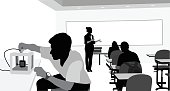 A vector silhouette illustration of a young male student tinkering with a 3D printer in a classroom with a female teacher giving a lecture.