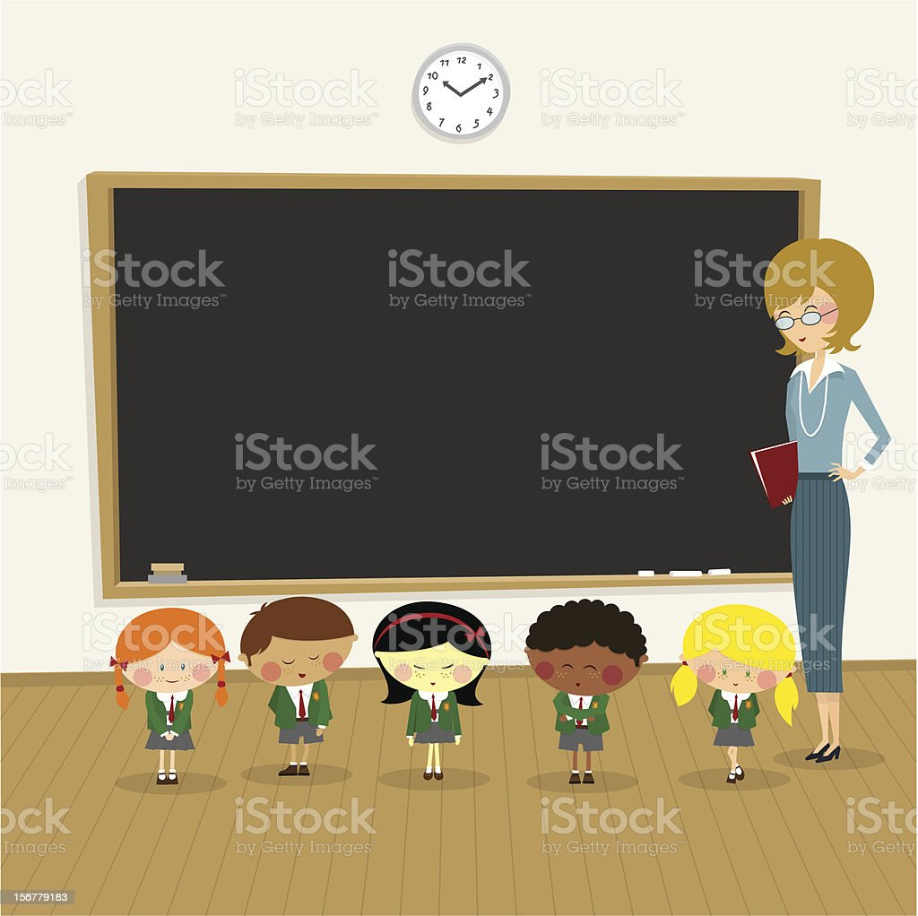 Classroom vector art illustration