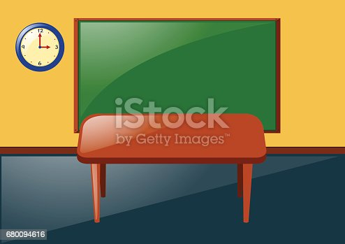 classroom table vector. classroom with blackboard and table stock vector art 680094616 | istock
