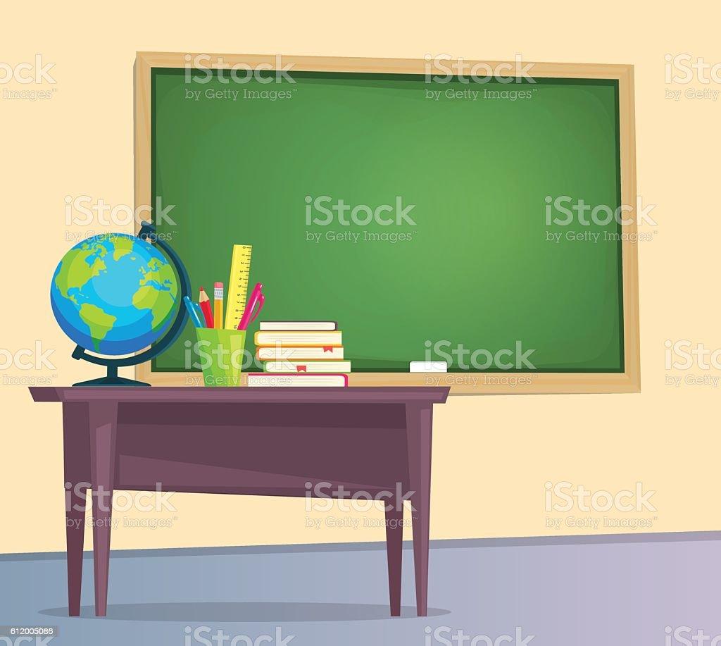 Classroom with green chalkboard – Vektorgrafik