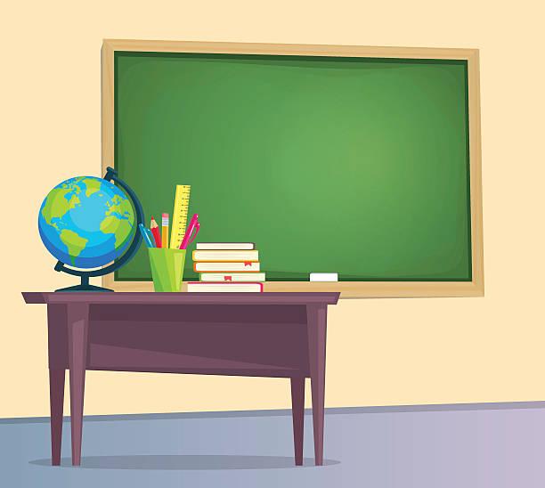 classroom with green chalkboard - schultische stock-grafiken, -clipart, -cartoons und -symbole