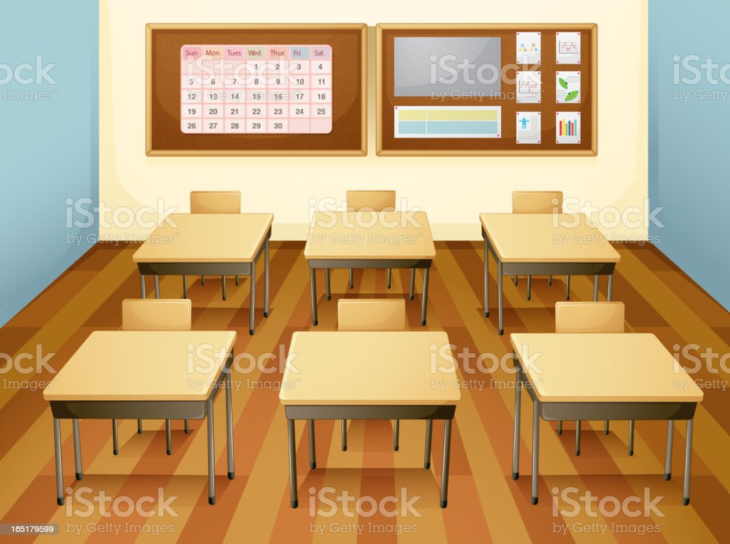Classroom with six desks, a calendar, and a task board royalty-free stock vector art