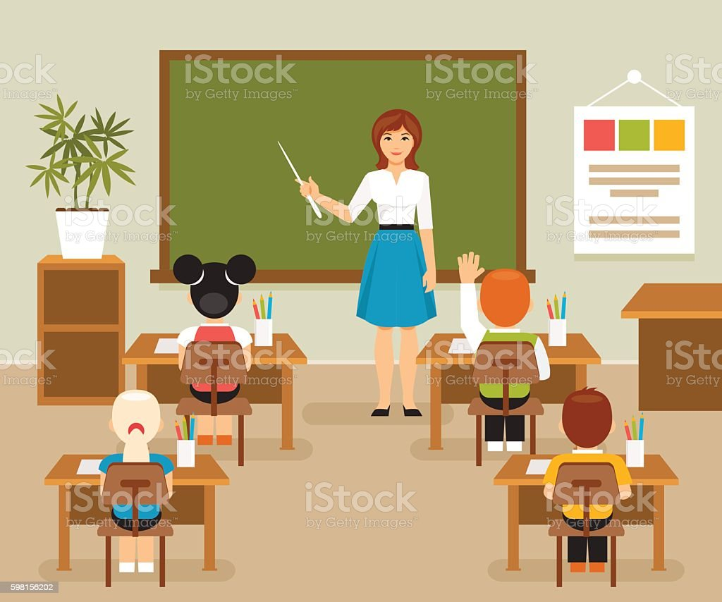 Classroom with teacher and students vector art illustration
