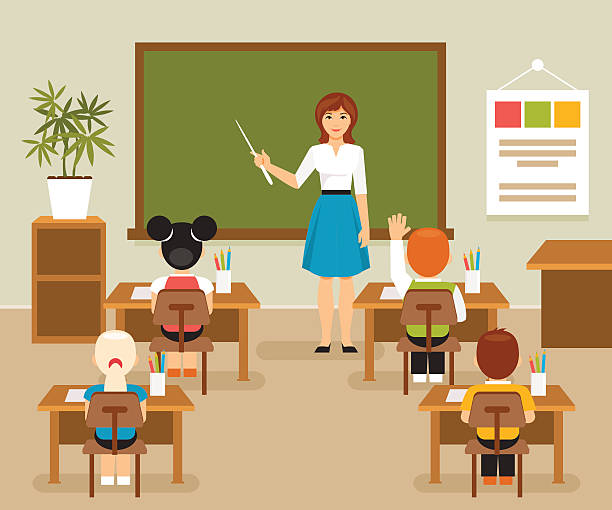 Classroom with teacher and students - ilustración de arte vectorial