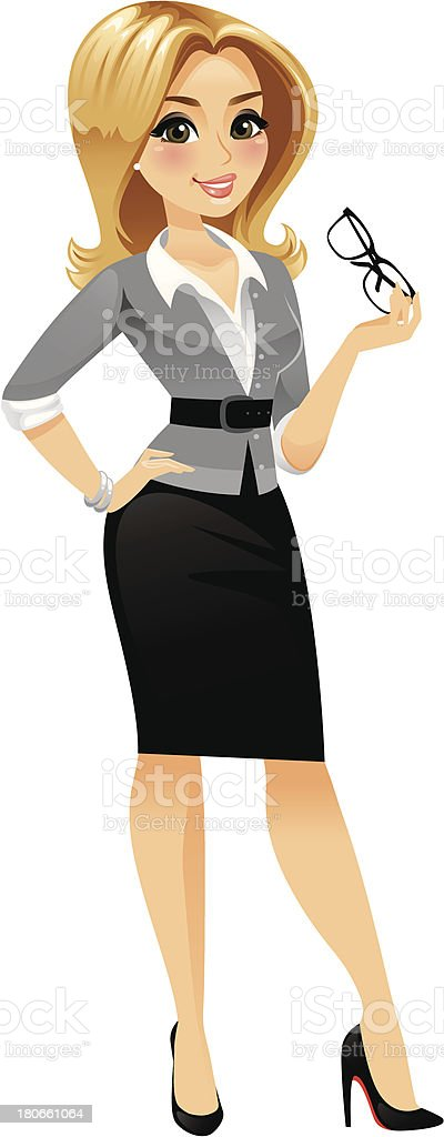Classy Blond Woman Standing vector art illustration