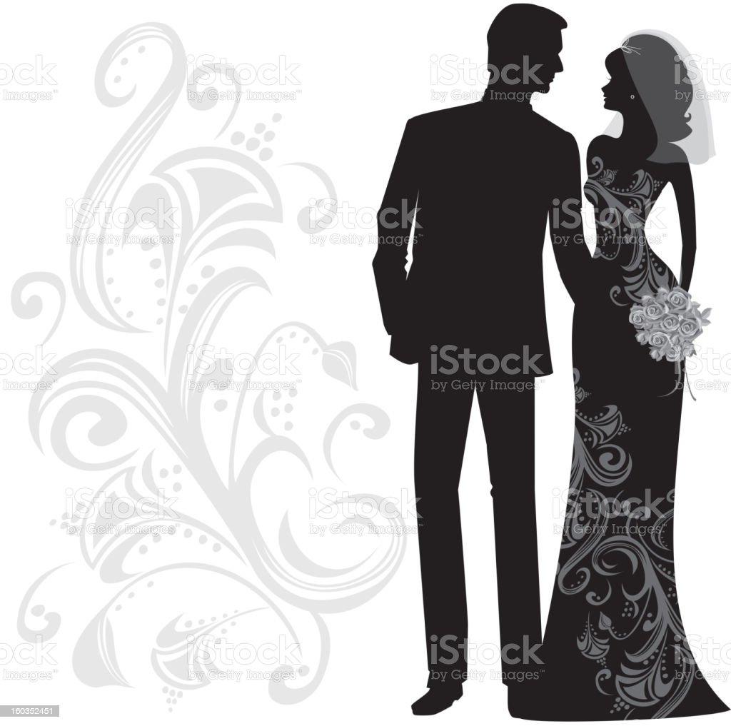 おしゃれな花嫁と花婿に結婚したシルエット - イブニングドレスの