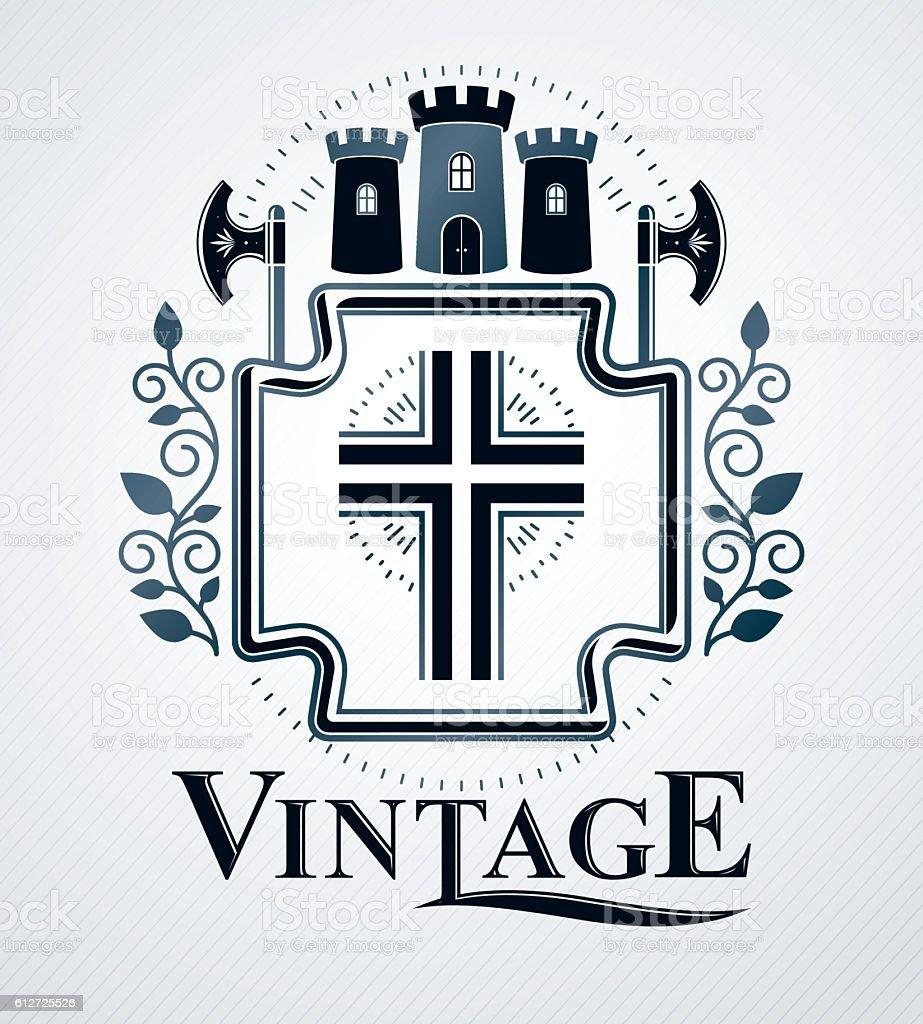 Classy emblem, vector heraldic Coat of Arms. - ilustração de arte em vetor