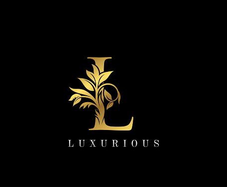 Classy Golden L Letter Floral logo.