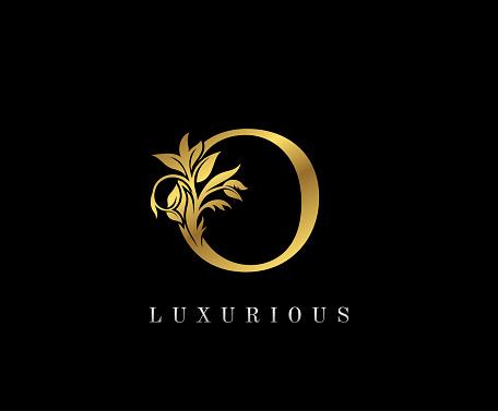 Classy Golden O Letter Floral logo.