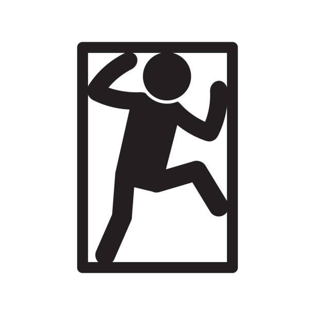 stockillustraties, clipart, cartoons en iconen met claustrophobia icoon. angst voor besloten ruimte icoon. vector. - claustrofobie
