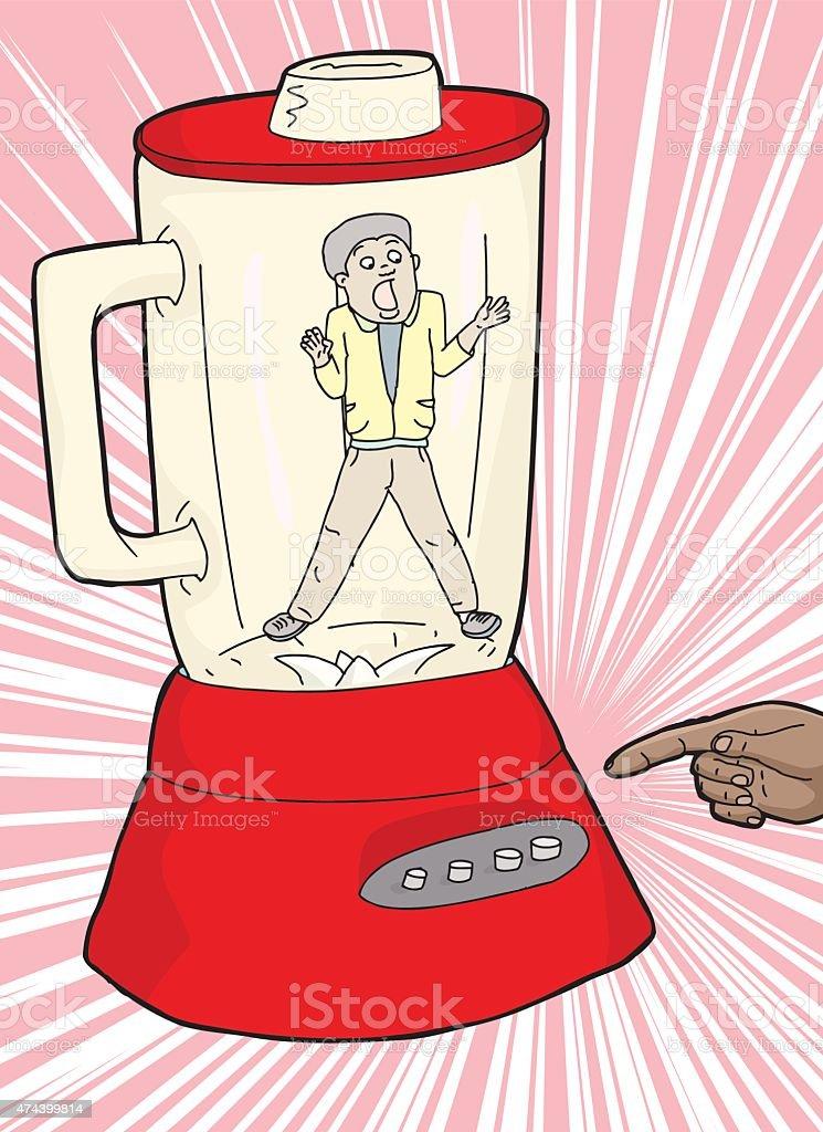 Claustrophobic Man and Blender vector art illustration