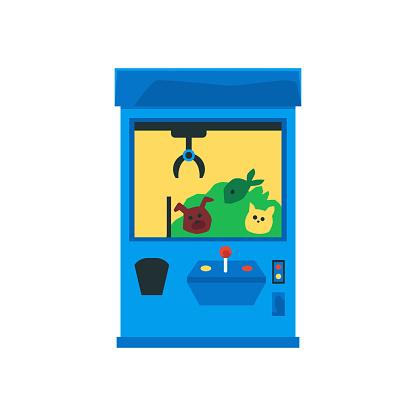 Claw crane machine with animal toys inside - cartoon arcade game