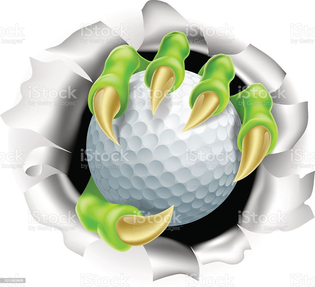 Claw with Golf Ball Breaking out Of Background vector art illustration