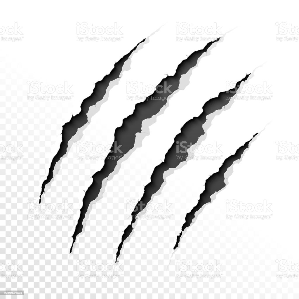 Claws scratches vector art illustration
