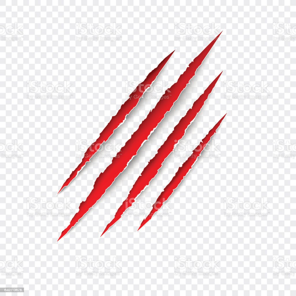 Claws scratches. Vector red scratch set isolated on transparent background. vector art illustration