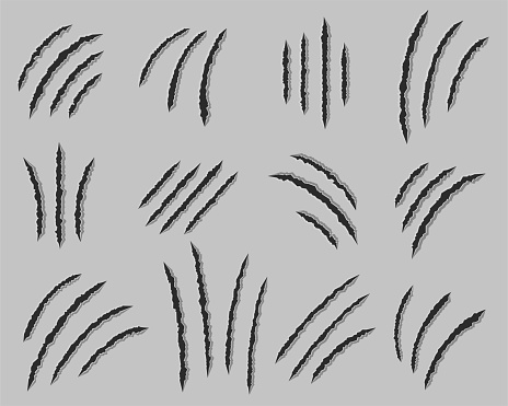 Claws scratches vector set