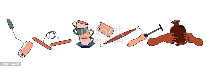 Clay crafting equipment set in doodle style. Pottery making, tools and instruments for workshop. Sculpture art and ceramics production.