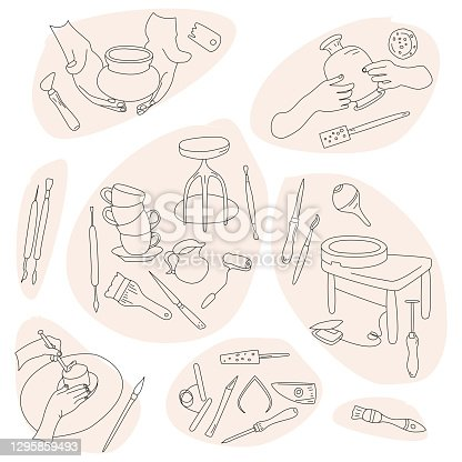 Clay crafting set in doodle style.Pottery modeling and sculpture tools.Outline instruments. Ceramics workshop banner.