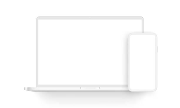 glina laptop i telefon komórkowy izolowane na białym tle - glina stock illustrations