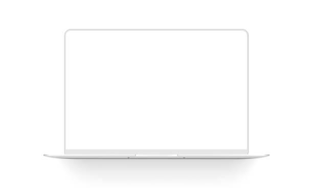 makieta laptopa gliniana odizolowana na białym tle - glina stock illustrations