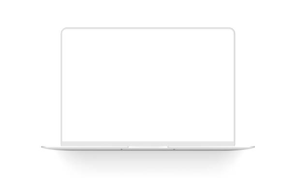 Clay laptop mockup isolated on white background Clay laptop mockup isolated on white background. Vector illustration clay stock illustrations