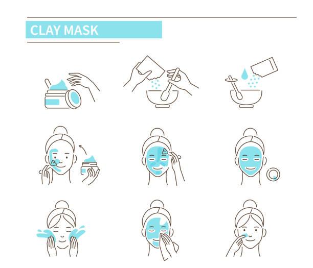 ilustrações, clipart, desenhos animados e ícones de máscara de argila - limpando rosto