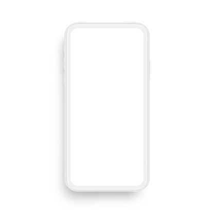 Clay mobile phone mockup isolated on white background, front view