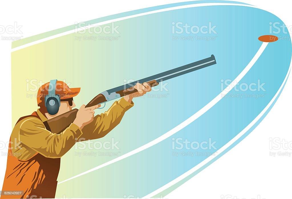 Clay Pigeon Shooter Aiming Shotgun at the Target vector art illustration