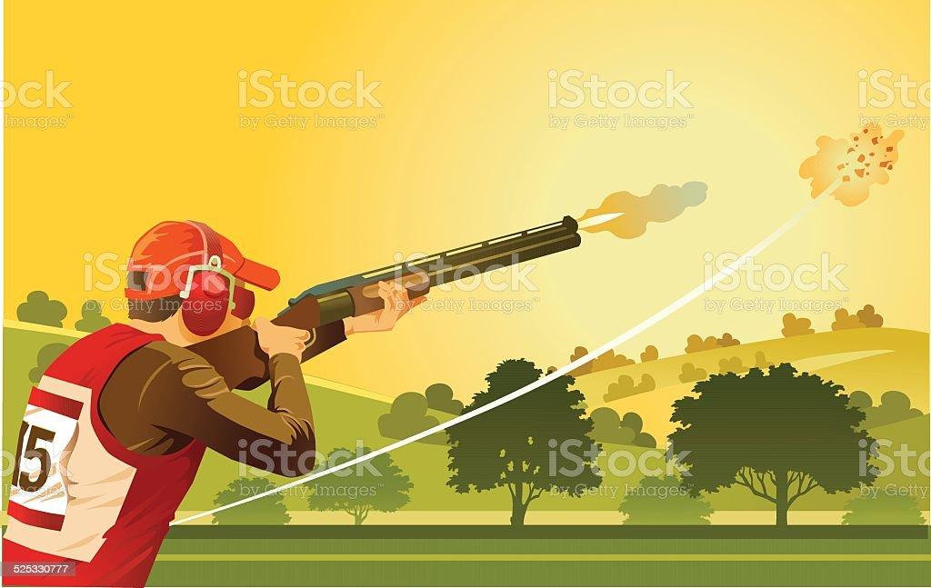 Clay Pigeon Shooter on Skeet Shooting Range vector art illustration
