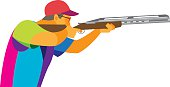 Clay Pigeon Shooting. Young athlete