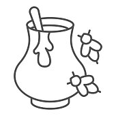 Clay pot with honey and bees thin line icon, beekeeping concept, natural honey in pot sign on white background, Jar of honey with spoon icon in outline style for mobile and web. Vector graphics